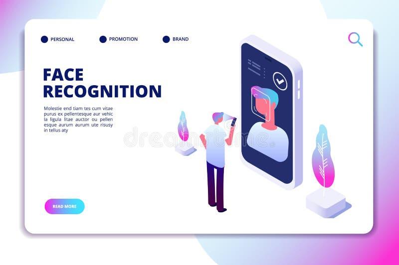Concepto isométrico del reconocimiento de cara Escáner del smartphone de la verificación de la identificación Personal identifiqu stock de ilustración