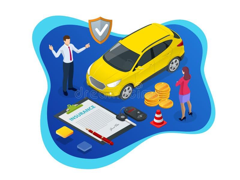 Concepto isométrico del seguro de coche Póliza de seguro auto con efectivo y el llavero Vehículo del reembolso libre illustration