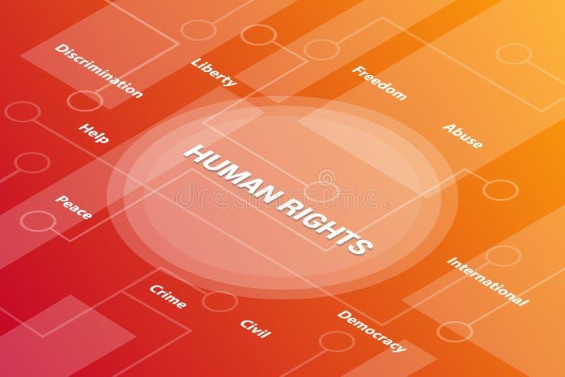Concepto isométrico del texto de la palabra 3d de las palabras del concepto de los derechos humanos con algún texto y punto relac ilustración del vector