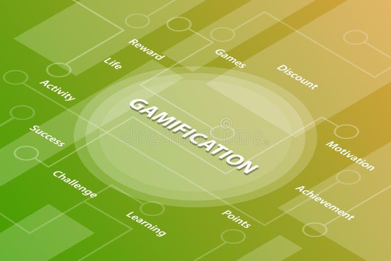 Concepto isom?trico del texto de la palabra 3d de las palabras de la vida de Gamification con alg?n texto y punto relacionados co stock de ilustración