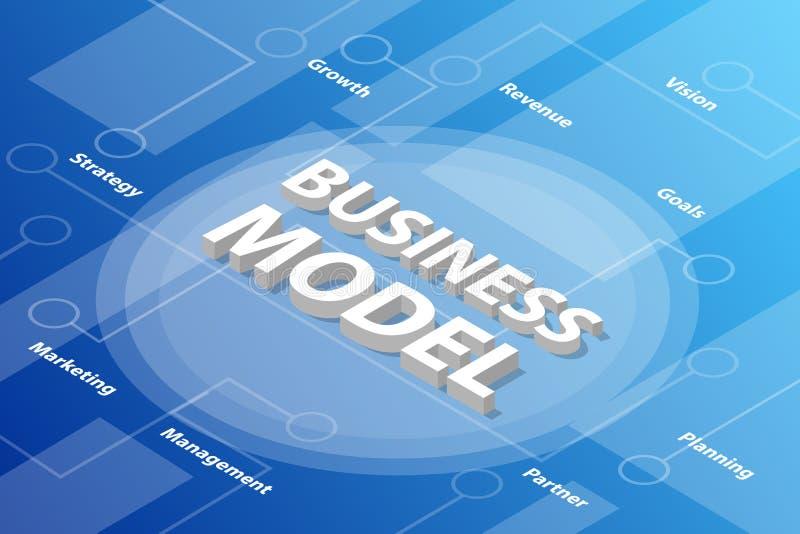 Concepto isométrico del texto de la palabra 3d del modelo comercial con algún texto y punto relacionados conectados - vector libre illustration