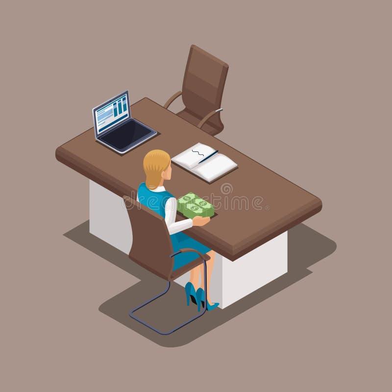 Concepto isométrico del trabajo de un director de banco durante la emisión de un préstamo Estructura de las actividades bancarias stock de ilustración
