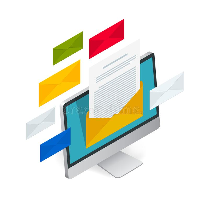 Concepto isométrico del vector del correo electrónico entrante Recepción de mensajes Ordenador portátil con el sobre y documento  stock de ilustración