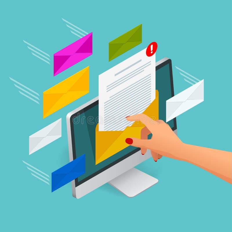Concepto isométrico del vector del correo electrónico entrante Recepción de mensajes Ordenador portátil con el sobre y documento  libre illustration