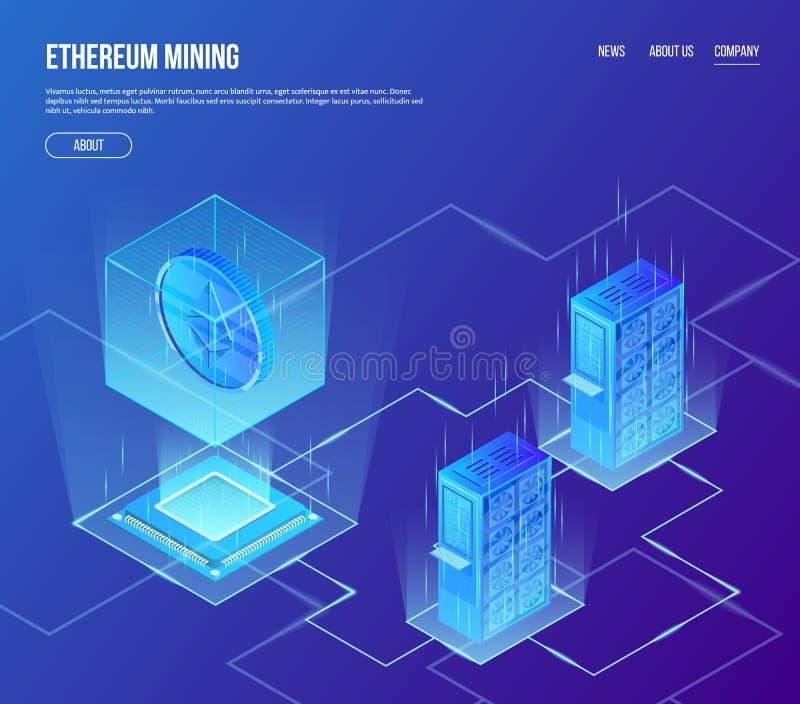 Concepto isométrico del vector de explotación minera del blockchain del ethereum Moneda Crypto del ethereum de la moneda en cubo  stock de ilustración