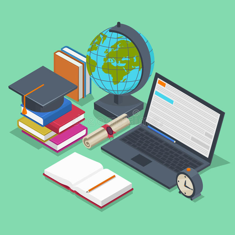 Concepto isométrico del vector de la educación 3d de nuevo a libre illustration