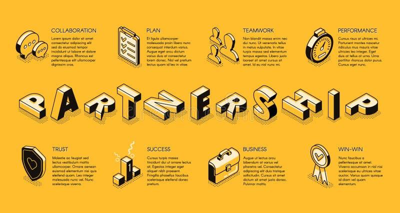 Concepto isométrico del vector de la sociedad del negocio libre illustration