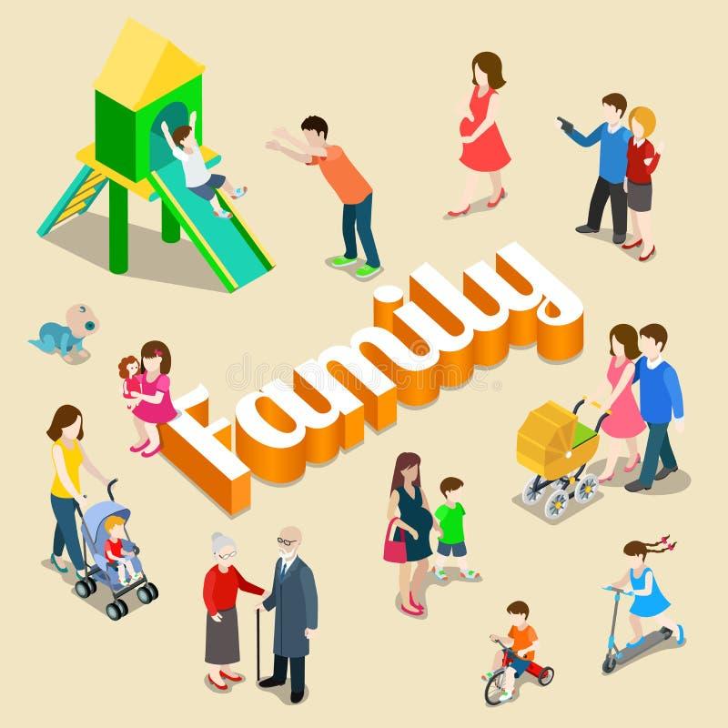 Concepto isométrico del vector del parenting de la familia ilustración del vector