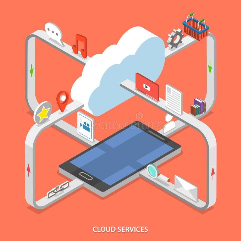 Concepto isométrico del vector del plano de servicios de la nube stock de ilustración