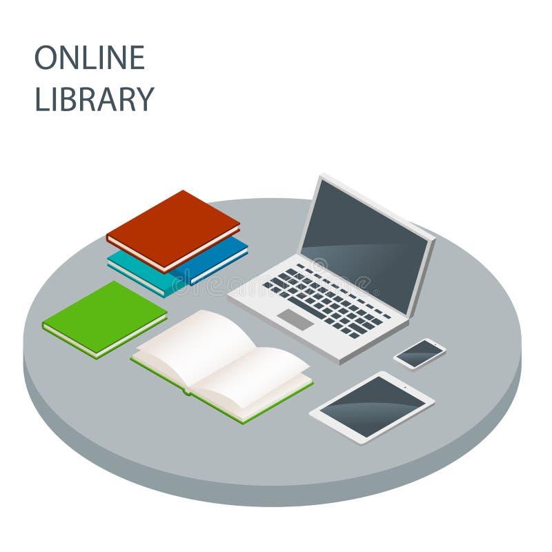 Concepto isométrico del vector en línea de la biblioteca Libros de lectura, educatio foto de archivo libre de regalías