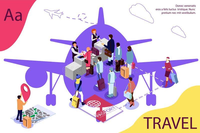 Concepto isométrico del viaje del aeropuerto con la recepción y el escritorio del control del pasaporte, pasillo que espera, cont ilustración del vector