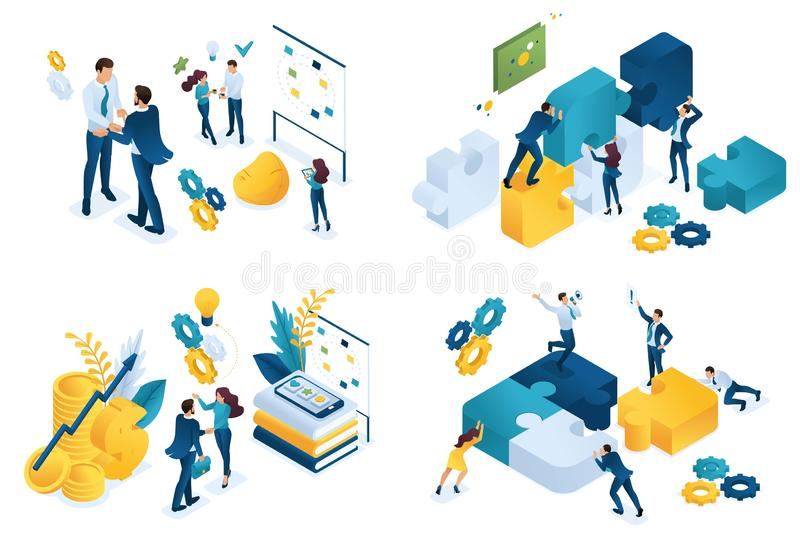 Concepto isométrico determinado de sociedad del negocio Conceptos modernos del ejemplo para el desarrollo del sitio web y del sit libre illustration