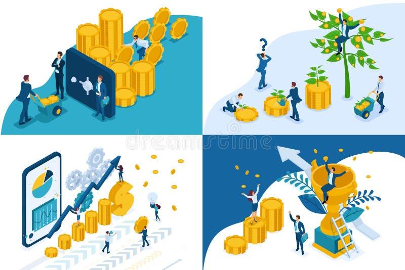Concepto isométrico fijado en el crecimiento de las inversiones, éxito del equipo, dinero de la seguridad Para crear aplicaciones libre illustration