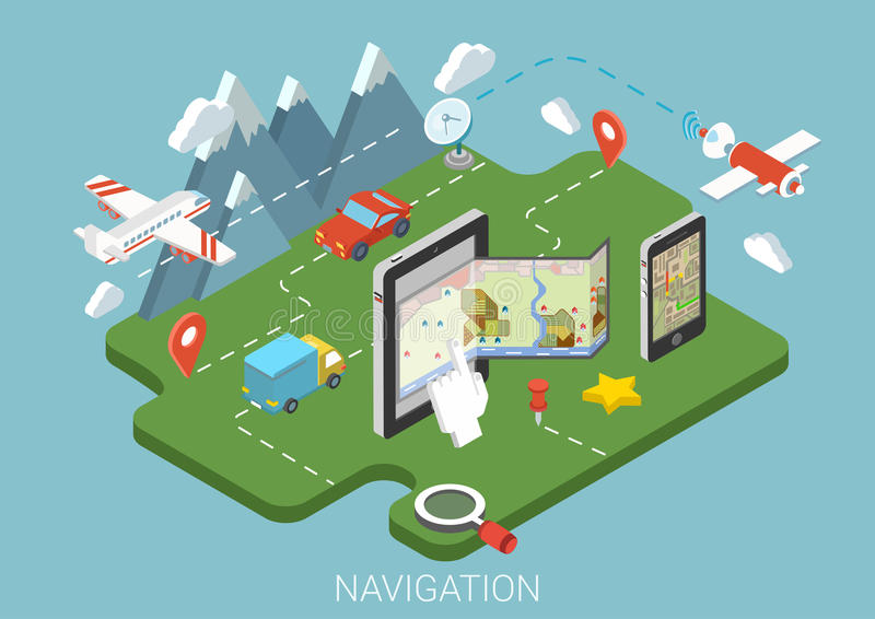 Concepto isométrico infographic 3d de la navegación GPS móvil plana del mapa libre illustration