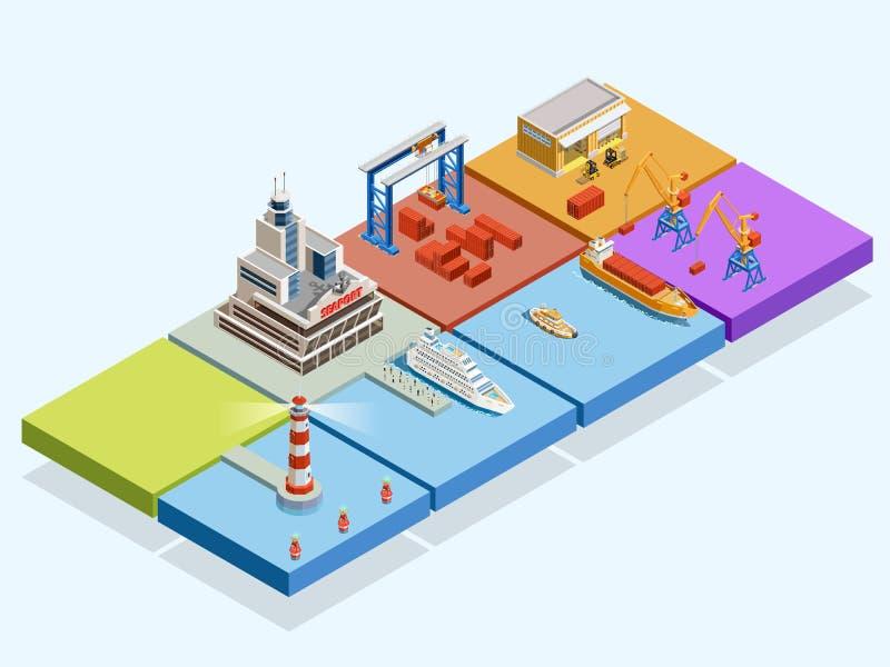 Concepto isométrico logístico marítimo ilustración del vector