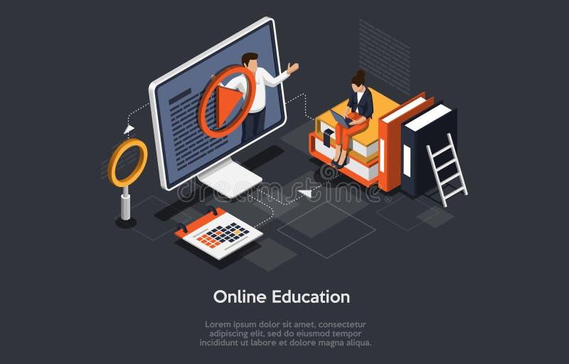Concepto isométrico moderno de educación en línea para banner y sitio web stock de ilustración