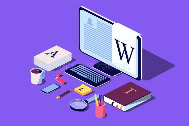 Concepto isométrico para el blog, concepto Blogging, posts, estrategia contenta stock de ilustración