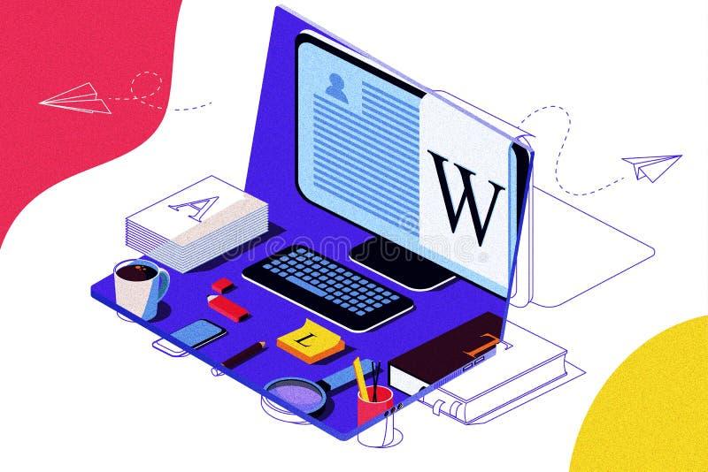Concepto isométrico para el blog, concepto Blogging, posts, estrategia contenta, medio social, charlando stock de ilustración
