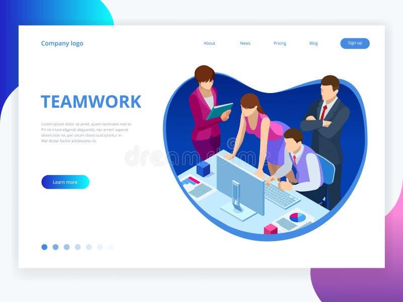 Concepto isométrico para el trabajo en equipo y el márketing digital, innovación creativa del negocio Diseño plano de la bandera  stock de ilustración