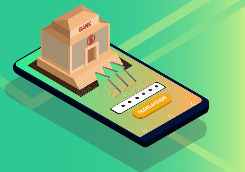 Concepto isométrico para las actividades bancarias móviles y el pago en línea libre illustration