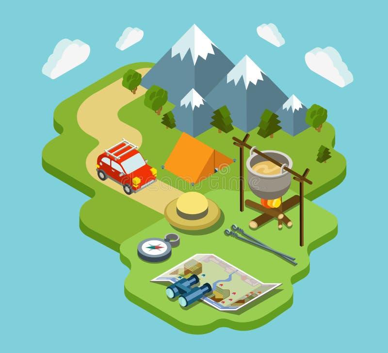 Concepto isométrico plano 3d de las vacaciones activas al aire libre del viaje que acampa ilustración del vector