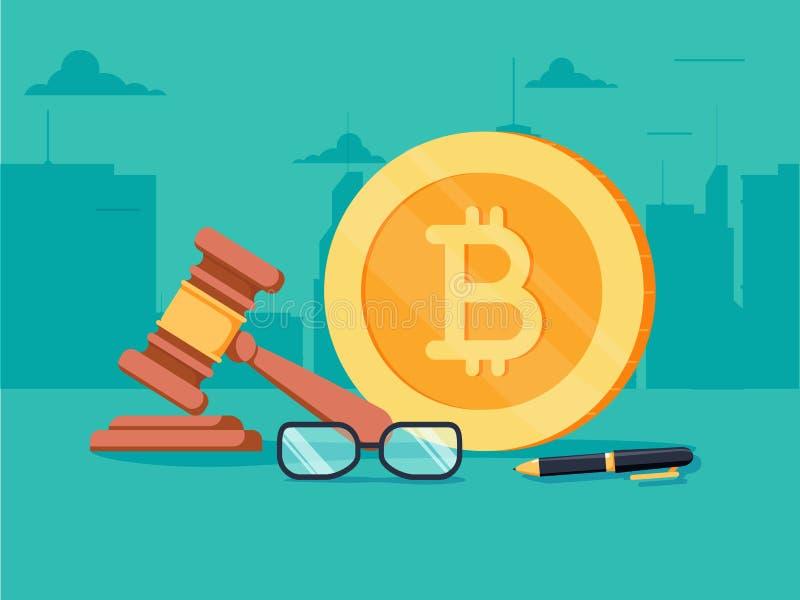 Concepto isométrico plano de la legislación de Cryptocurrency Documento firmado con el bitcoin y mazo en él stock de ilustración