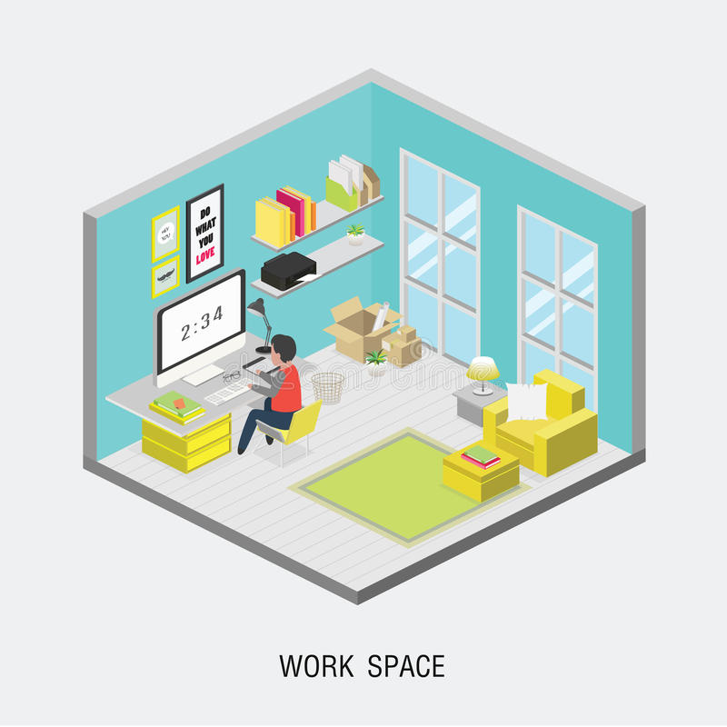 Concepto isom trico plano de la oficina 3d ilustraci n del for Nociones basicas de oficina concepto