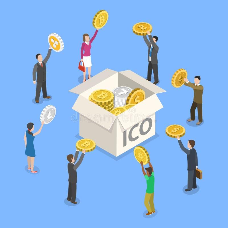 Concepto isométrico plano del vector de ICO stock de ilustración