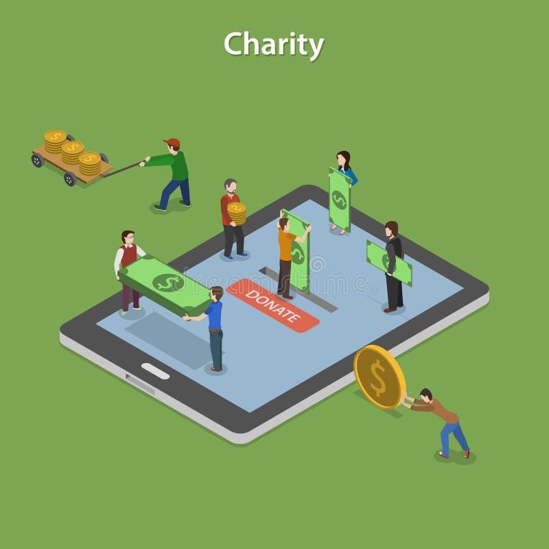 Concepto isométrico plano del vector de la caridad ilustración del vector