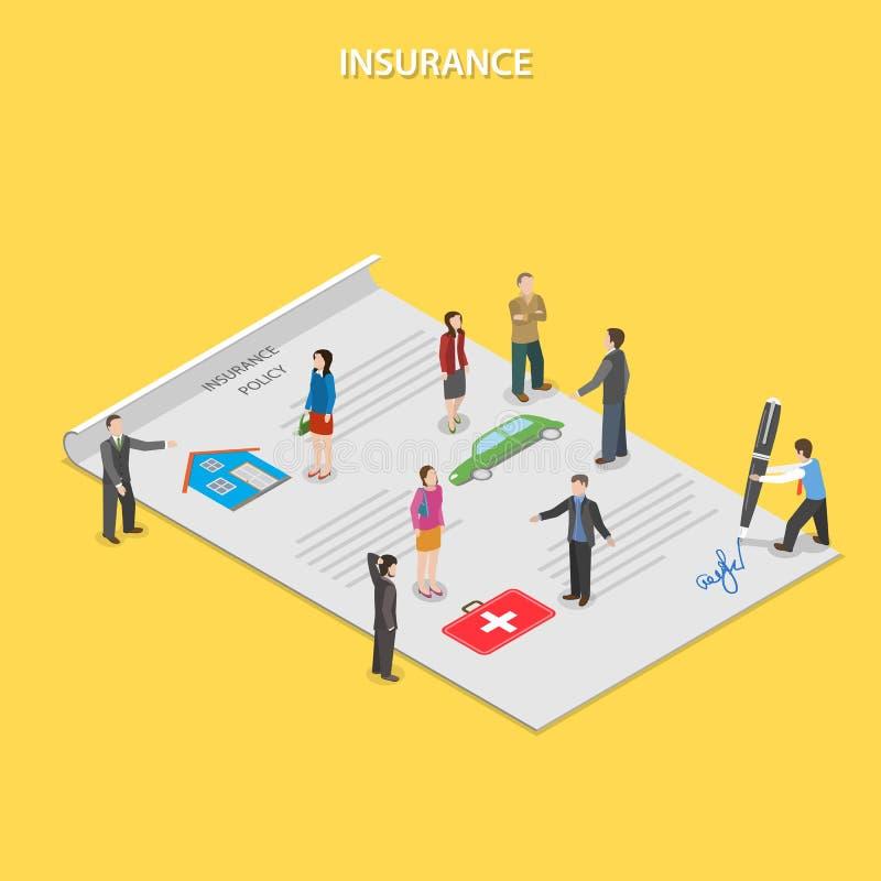 Concepto isométrico plano del vector de la póliza de seguro stock de ilustración