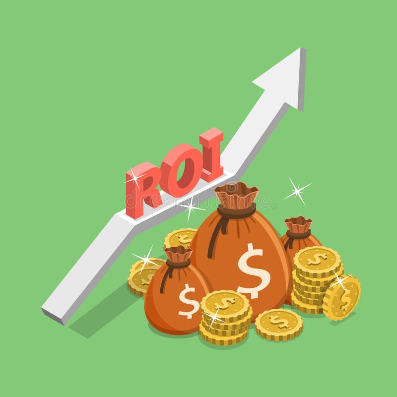 Concepto isométrico plano del vector de la rentabilidad de la inversión, ROI, márketing digital stock de ilustración