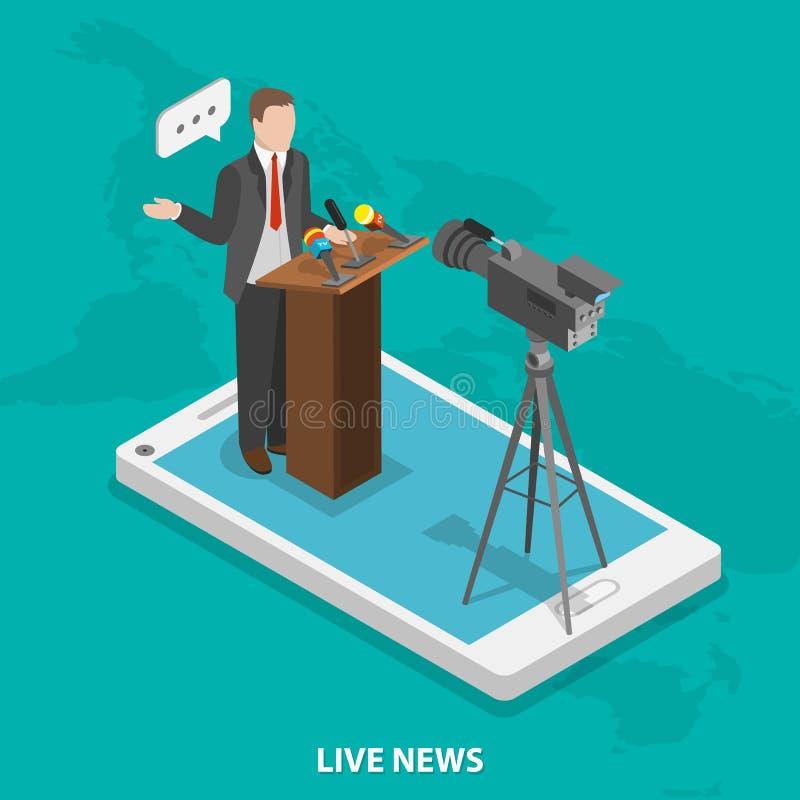 Concepto isométrico plano del vector de las noticias vivas libre illustration