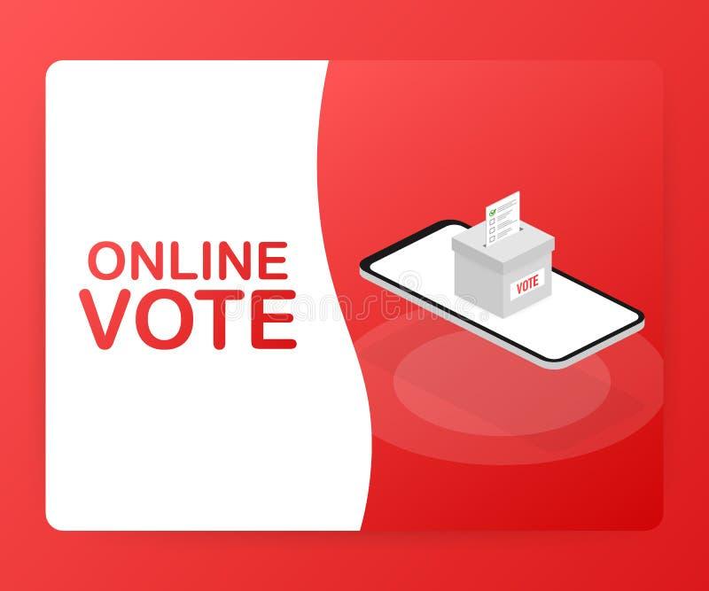 Concepto isométrico plano del vector que vota en línea, e-votando, sistema de Internet de la elección Ilustración del vector stock de ilustración