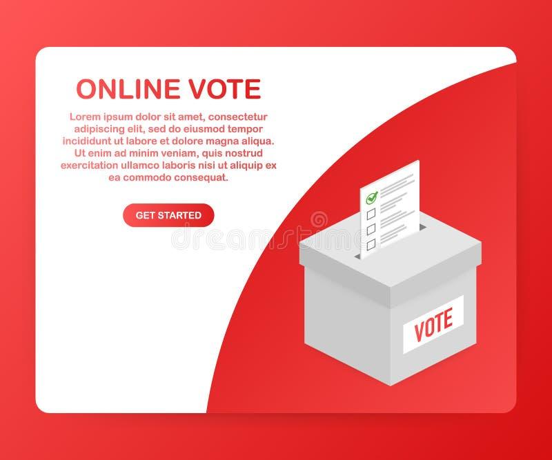 Concepto isométrico plano del vector que vota en línea, e-votando, sistema de Internet de la elección Ilustración del vector ilustración del vector
