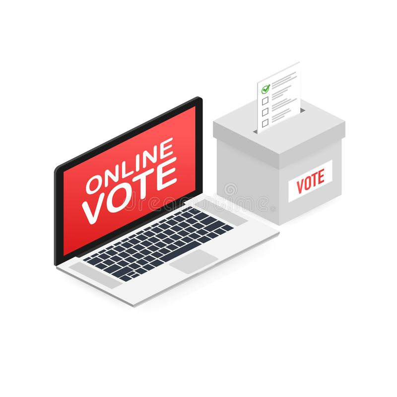 Concepto isométrico plano del vector que vota en línea, e-votando, sistema de Internet de la elección Ilustración del vector libre illustration
