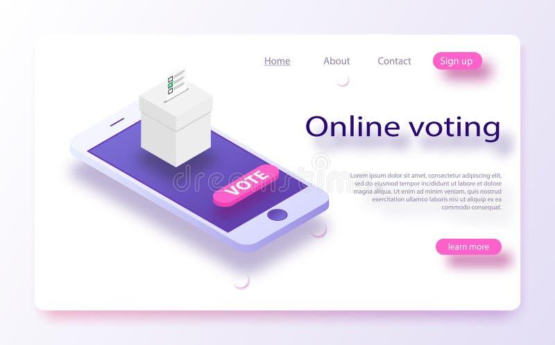 Concepto isométrico plano del vector que vota en línea, e-votando, sistema de Internet de la elección n ilustración del vector