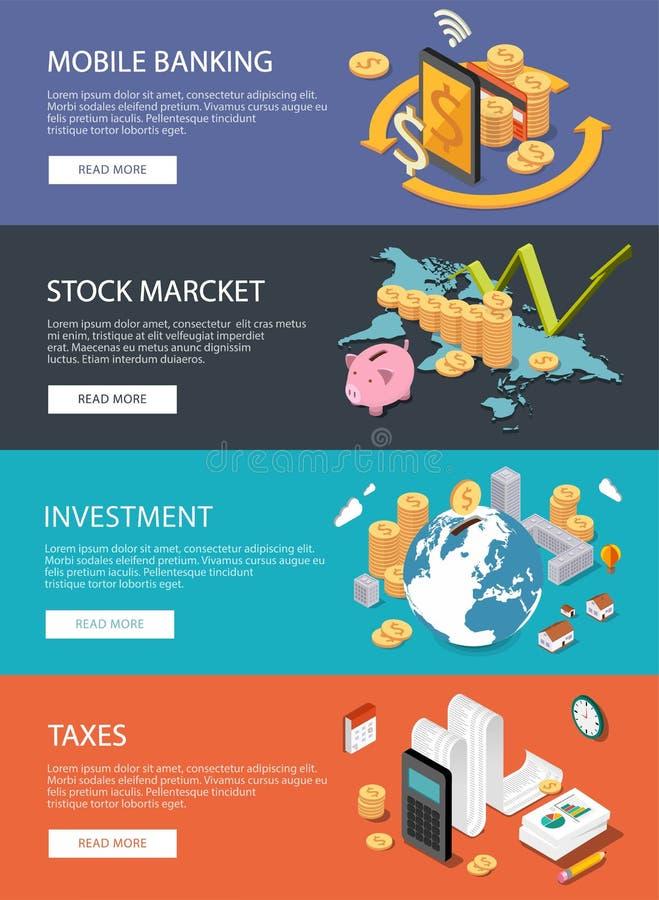 Concepto isométrico plano: finanzas, mercado de acción, invirtiendo, impuestos, m-actividades bancarias ilustración del vector