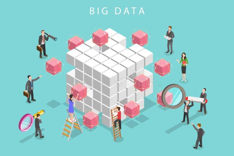 Concepto isométrico plano grande del vector del análisis de datos stock de ilustración