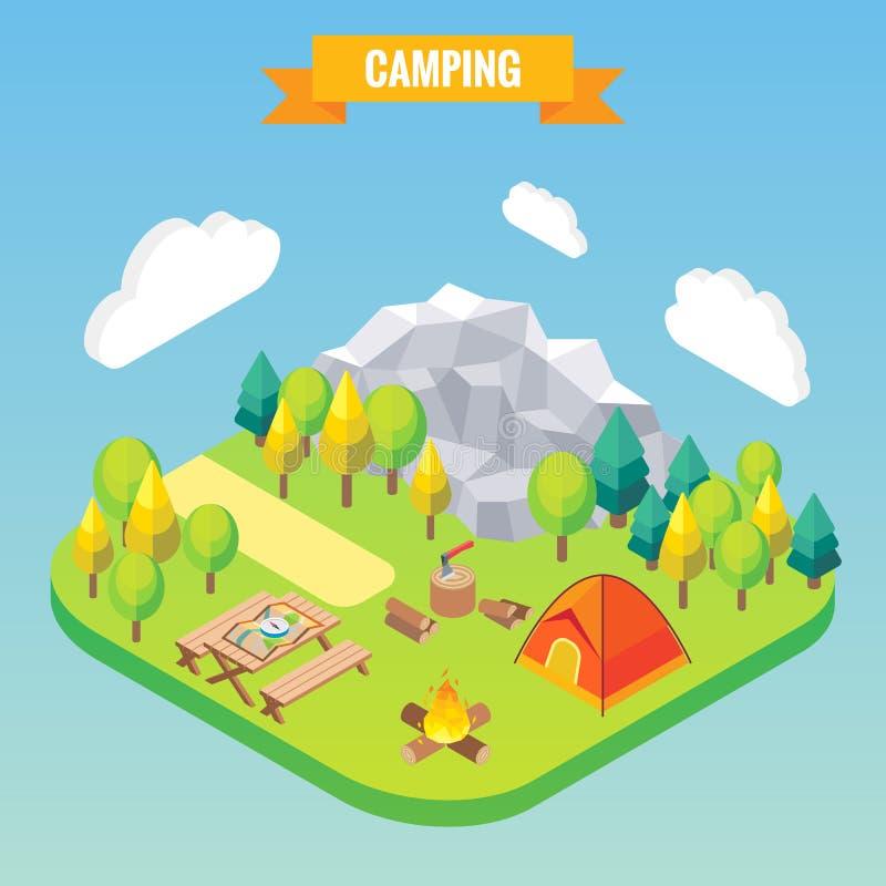 Concepto isométrico que acampa Ejemplo del vector en el estilo plano 3d Actividad al aire libre del campo Viaje en montañas stock de ilustración