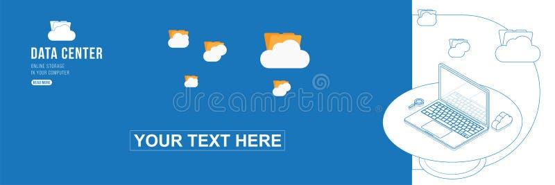 Concepto isom?trico del centro de datos del dibujo de esquema con almacenamiento, las nubes y el ordenador port?til del fichero e libre illustration