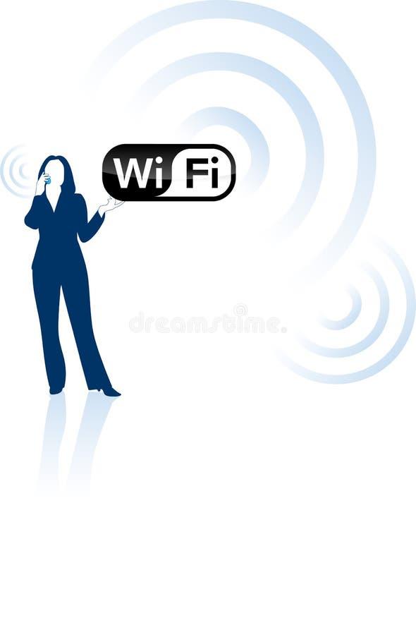 Concepto joven de la comunicación de la mujer y del wifi de negocios ilustración del vector