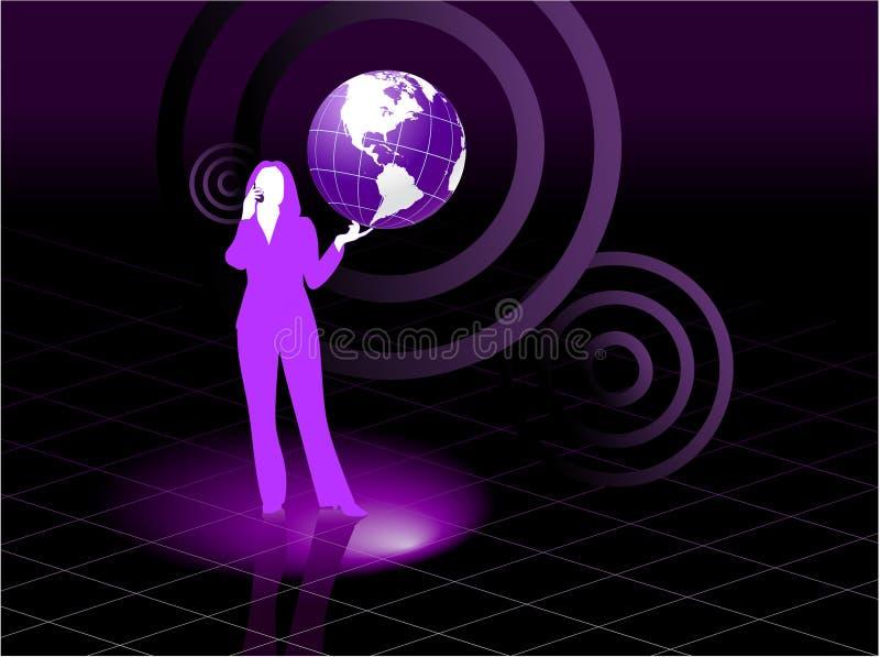 Concepto joven de la comunicación global de la mujer de negocios libre illustration
