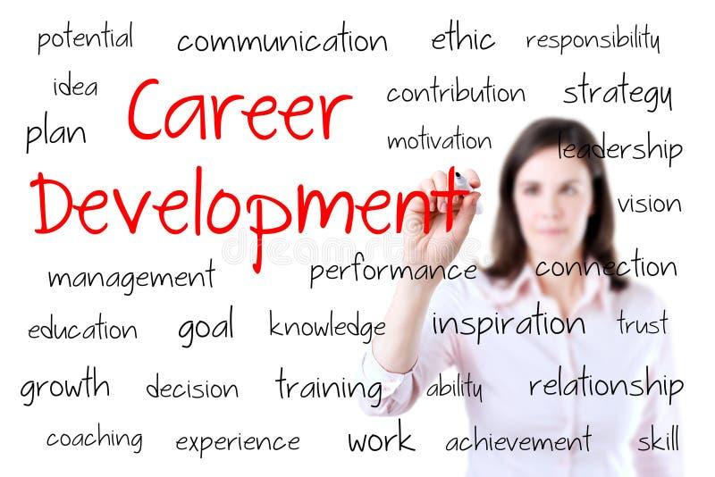 Concepto joven del desarrollo de carrera de la escritura de la mujer de negocios. Aislado en blanco. imagenes de archivo
