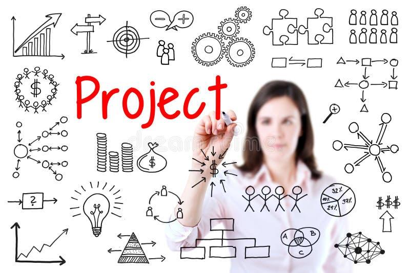 Concepto joven del proyecto de la escritura de la mujer de negocios Aislado en el fondo blanco fotos de archivo libres de regalías