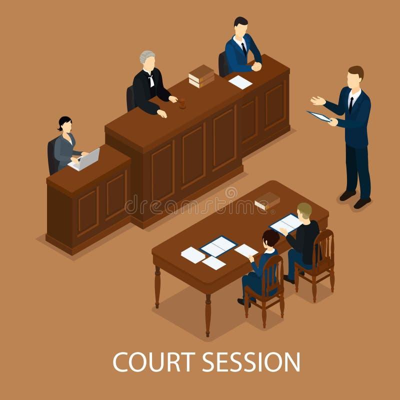 Concepto judicial isométrico de la sesión stock de ilustración