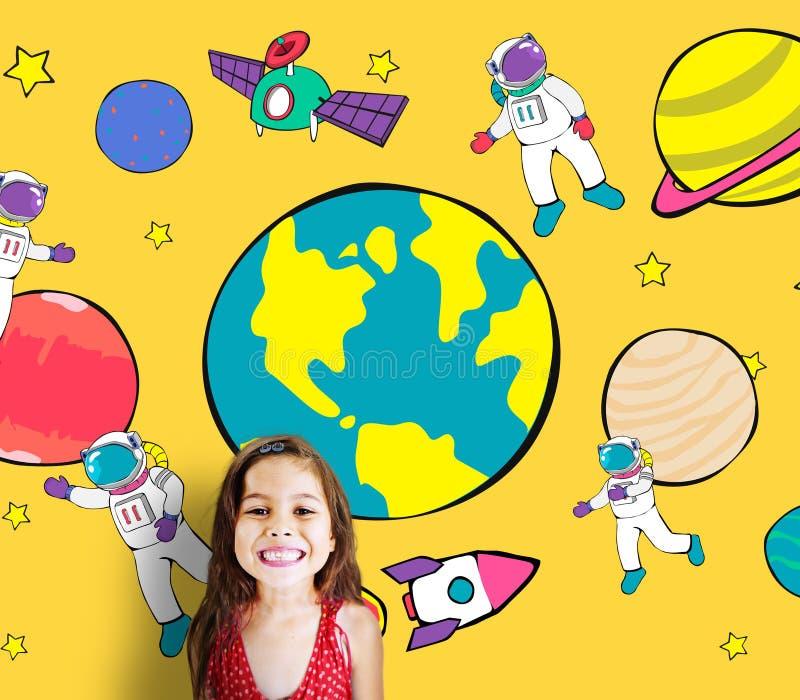 Concepto juguetón del universo del espacio de la imaginación del sueño del viaje de los planetas libre illustration