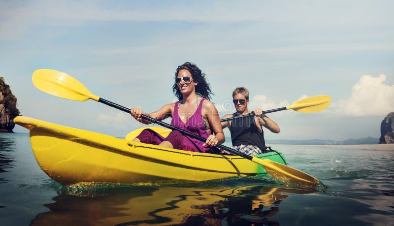 Concepto Kayaking de la reconstrucción del día de fiesta de la actividad de la diversión imágenes de archivo libres de regalías