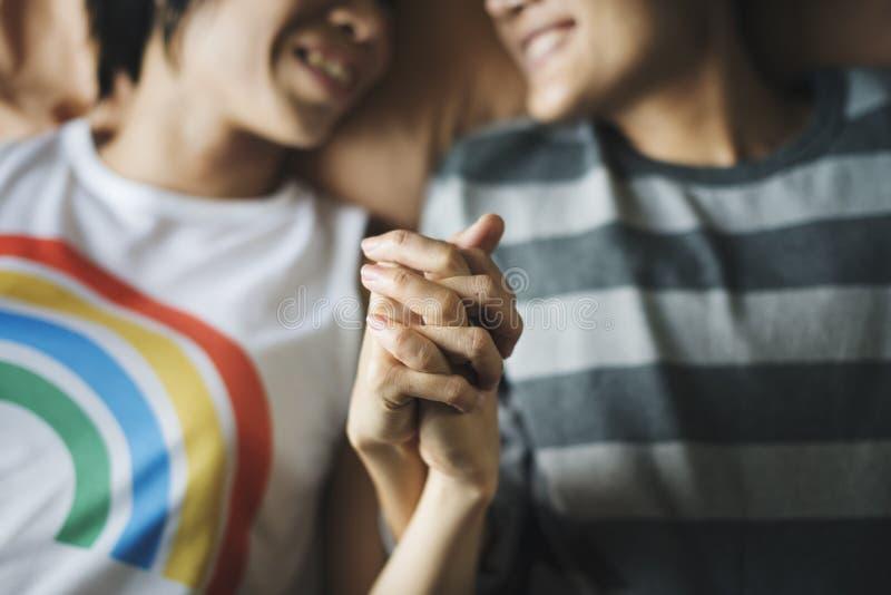 Concepto lesbiano de la felicidad de los momentos de los pares de LGBT imágenes de archivo libres de regalías