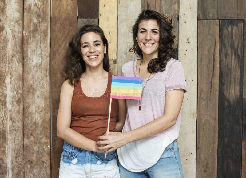 Concepto lesbiano de los pares junto dentro imágenes de archivo libres de regalías