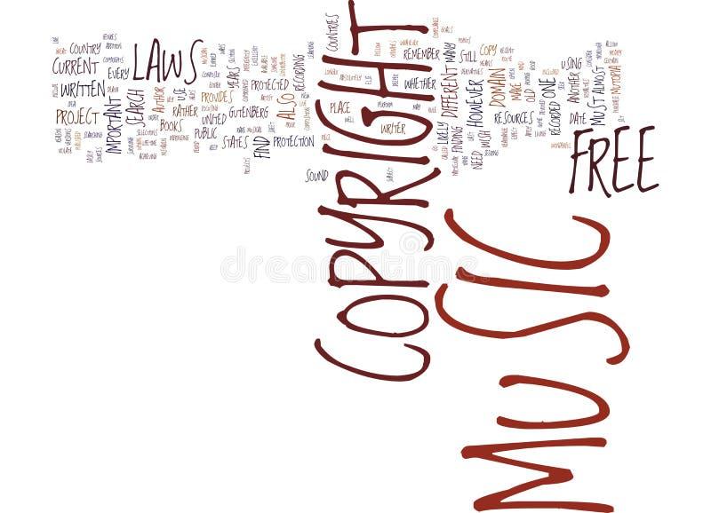 Concepto libre de la nube de la palabra del fondo del texto de la música de Copyright stock de ilustración